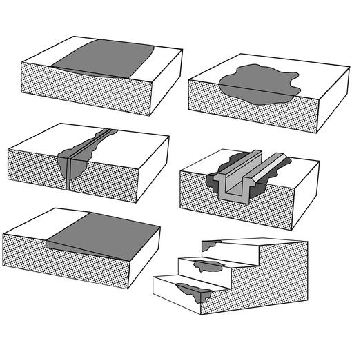 """""""Exemples d'utilisation du Concrex : sols usés, trous dans les sols, effritement des joints de dilatation, différence de niveaux, marches et escaliers endommagés, fixation des rails de guidage ou glissière"""""""
